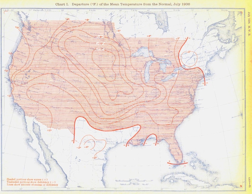 U.S. temperature departure from average during July 1936