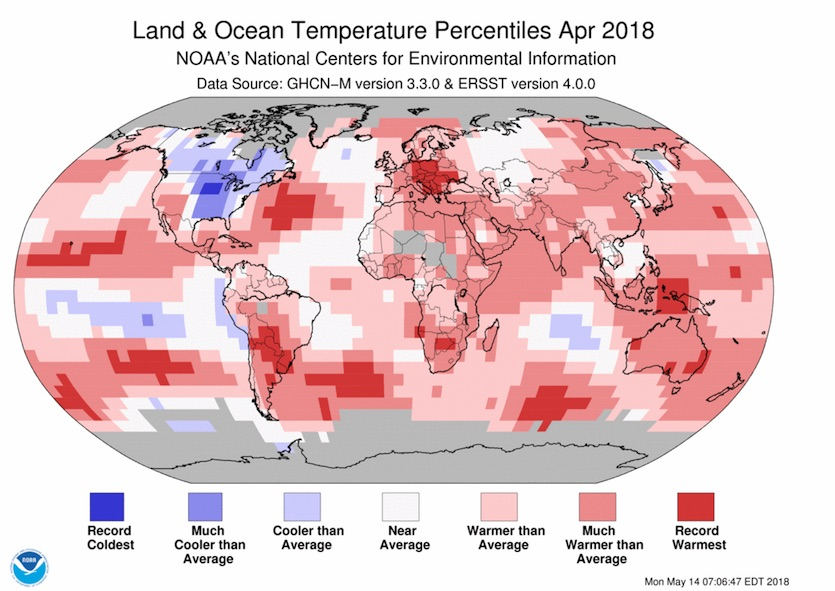 Map of global temperature departures from average, April 2018