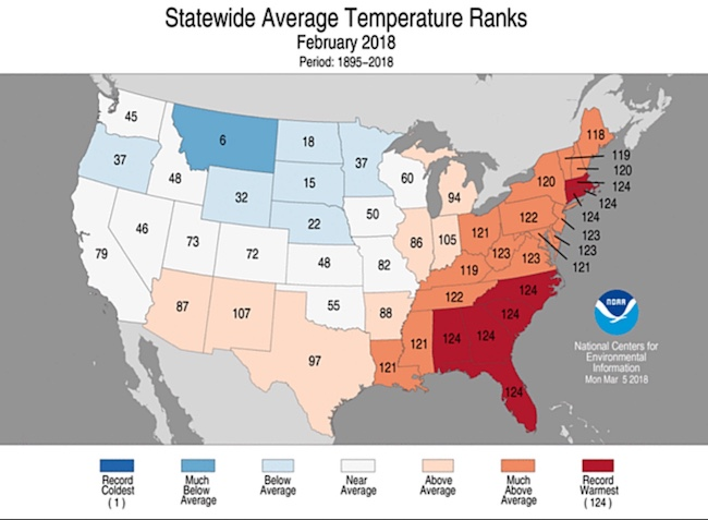 Statewide rankings for average temperature during Feb. 2018, as compared to each Feb. since 1895