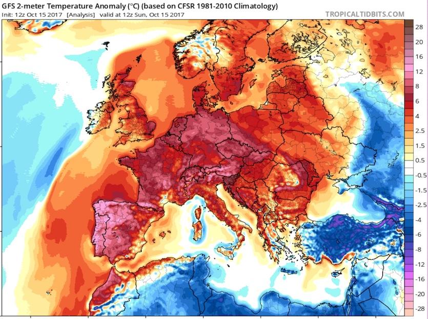 Europe temperatures