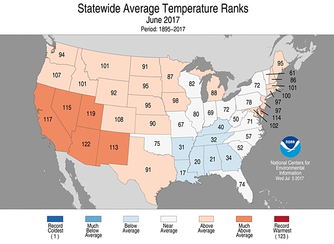 State-by-state temperature rankings for June 2017
