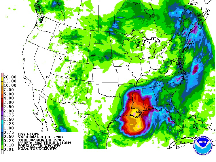 Three-day rainfall forecast for Tropical Storm Barry from 7 pm EDT Thursday, July 11, 2019, through 7 pm Sunday