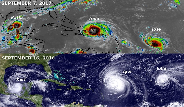 Comparison of simultaneous trio of hurricanes in 2017 and 2010