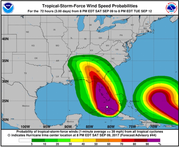 Probability of tropical-storm-force winds from Irma, 00Z 9/10/2017