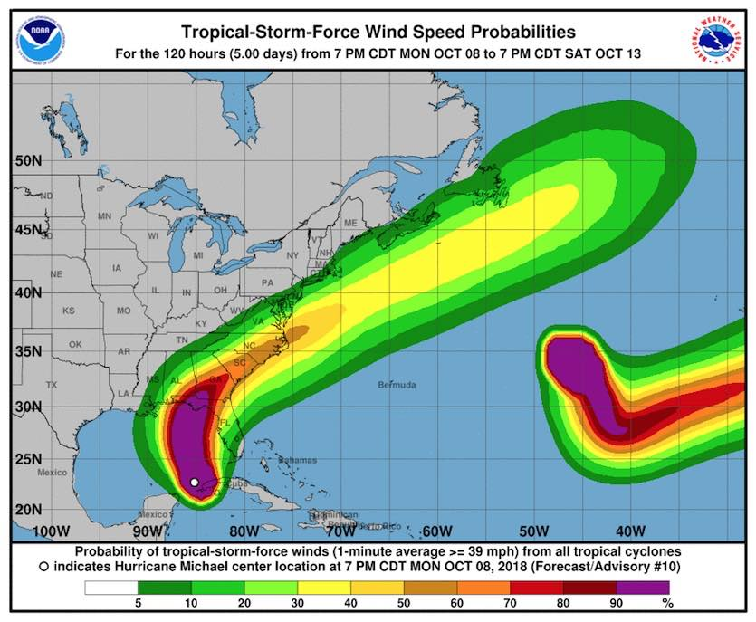 Probability of experiencing tropical-storm-force winds (sustained at 39 mph or stronger) over the five days starting from 8 pm EDT Monday, October 8, 2018