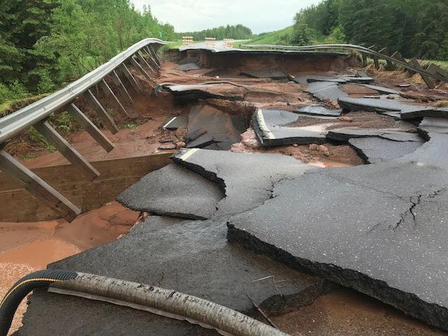 Road washout in northeast Minnesota, 6/17/2018