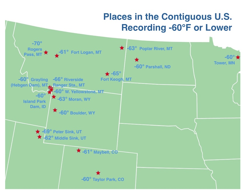 Places in the U.S. Recording -60°F Or Lower