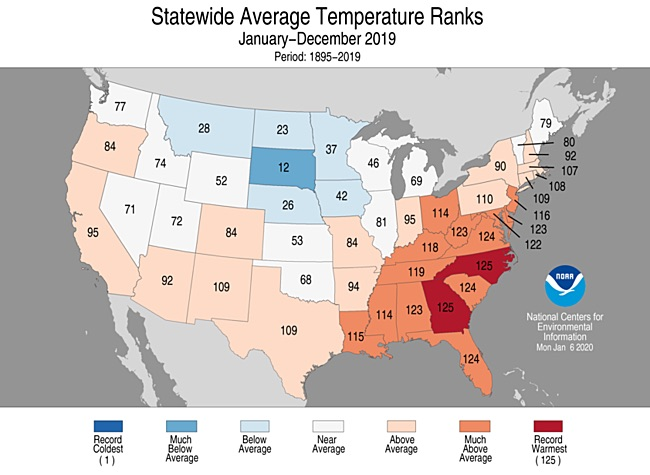 Statewide rankings for average temperature for 2019