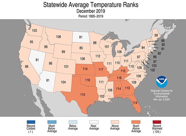 Statewide rankings for average temperature for Dec. 2019