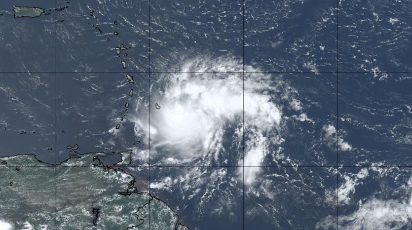 Natural-color satellite image of Tropical Storm Dorian at 1655Z