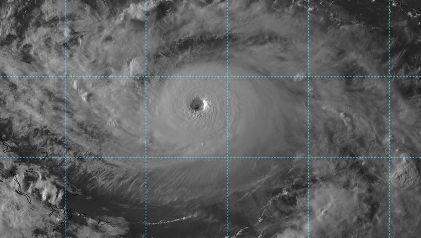 Visible satellite image of Hurricane Dorian around 22Z 8/30/19