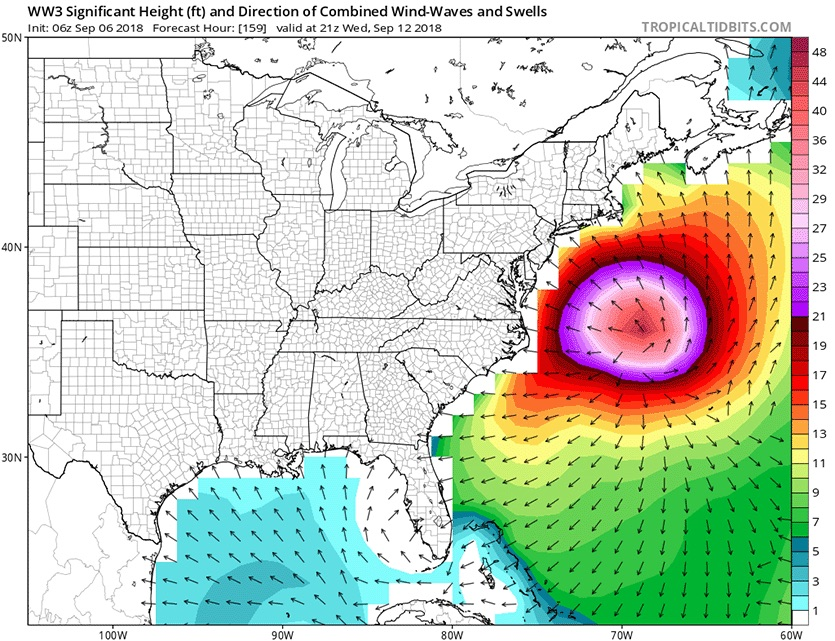 Predicted wave heights for 5 pm EDT Wednesday, September 12, 2018, from the 6z (2 am EDT) Thursday run of the WaveWatch III model