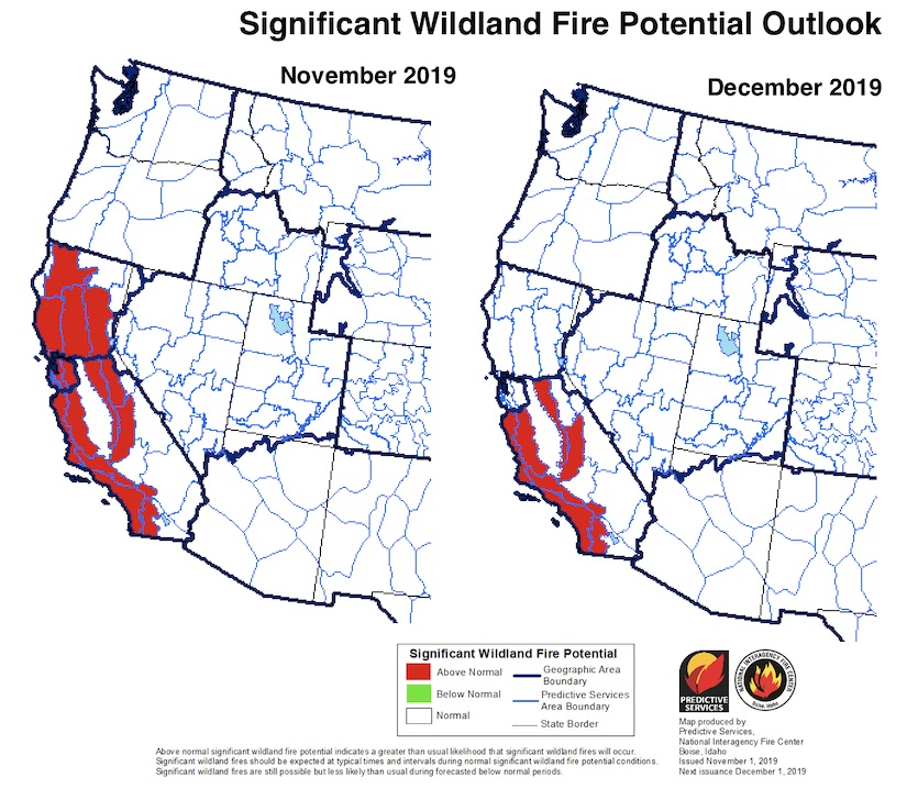 The National Wildland SIgnificant Fire Potential Outlook for November (left) and December 2019 (right) shows a greater-than-normal threat for significant wildfires across parts of California