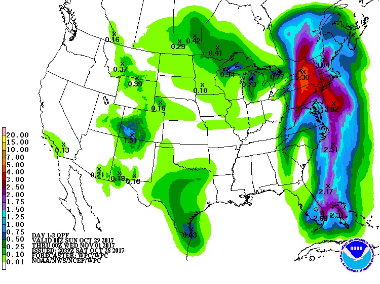 Precipitation forecast (in inches) for the 3-day period from 8 pm EDT Saturday, October 28, 2017, to 8 pm EDT Tuesday, October 31.