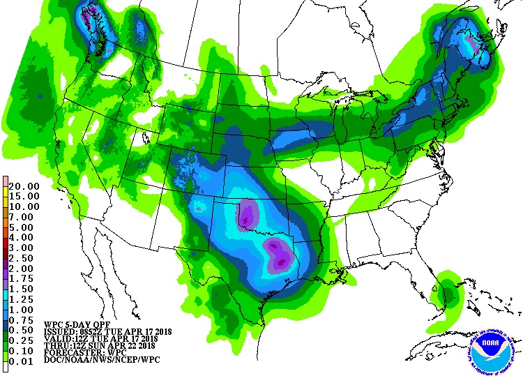5-day US precipitation forecast, 4/17-4/22/2018