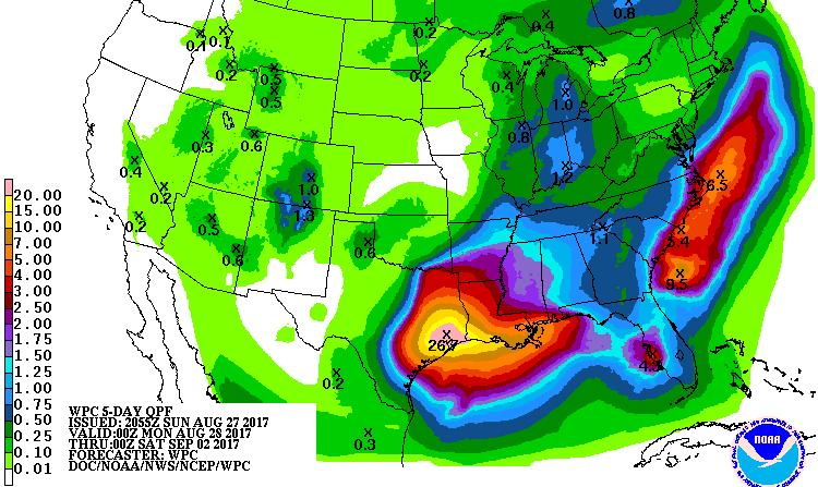 5-day precipitation forecast for Harvey, 0Z 8/28/2017