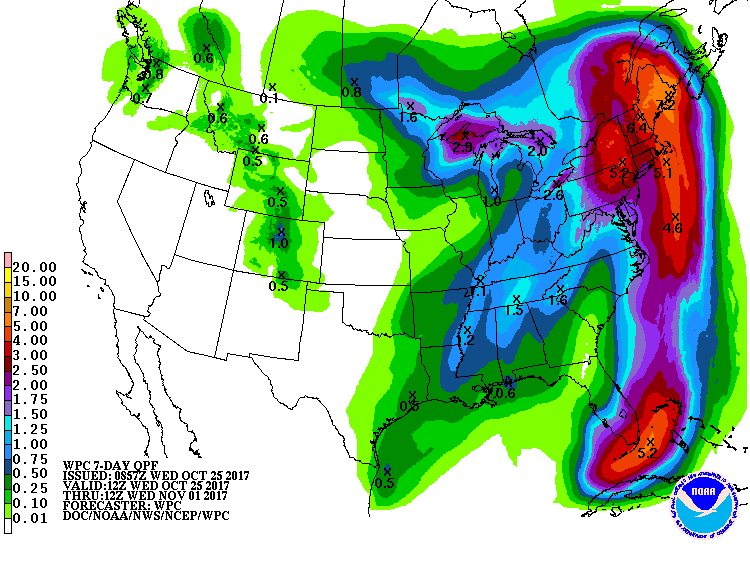 Predicted precipitation amounts for the 7-day period ending at 8 am EDT 11/1/2017
