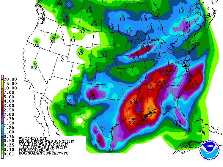 7-day rainfall forecast for US, 12Z 6/21/2017 to 6/28/2017