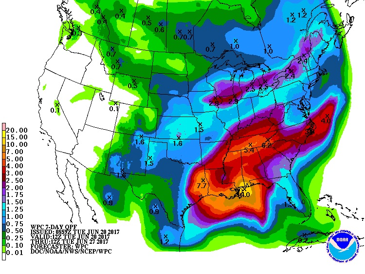 7-day rainfall forecast for US, 12Z 6/20/2017 to 6/27/2017