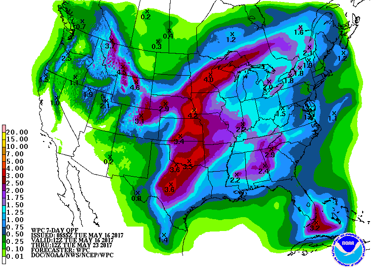 Precipitation forecast for 7-day period from Tues AM 5/16/2017 to 5/23/2017