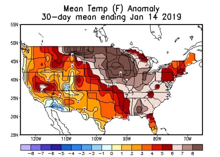U.S. temperature departures from average, 12/15/18 - 1/14/19