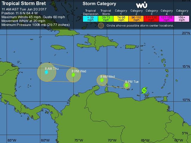 WU tracking map for TS Bret, 15Z 6/20/2017