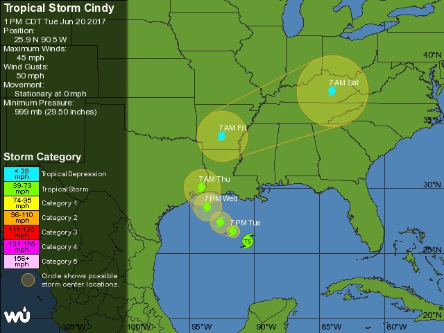 WU tracking map for TS Cindy, 18Z 6/20/2017