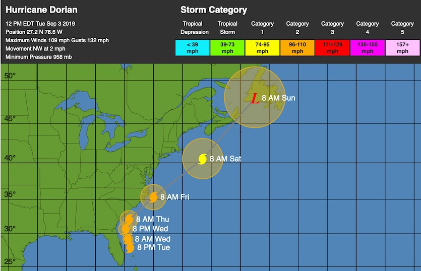 WU depiction of NHC forecast track for Dorian, 15Z 9/3/19