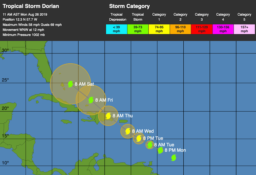 WU depiction of NHC forecast track for TS Dorian at 15Z 8/2619