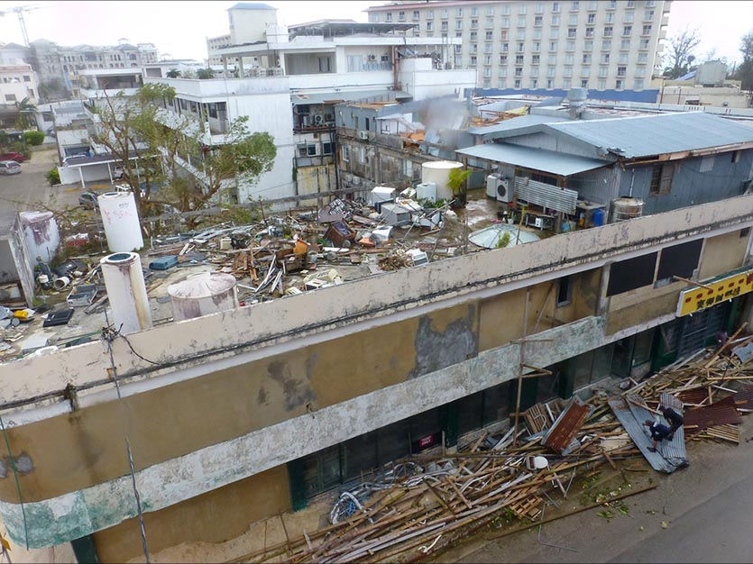 The tourist district of Garapan village on the northwest side of Saipan Island on October 25, 2018, after experiencing the north eyewall winds of Super Typhoon Yutu