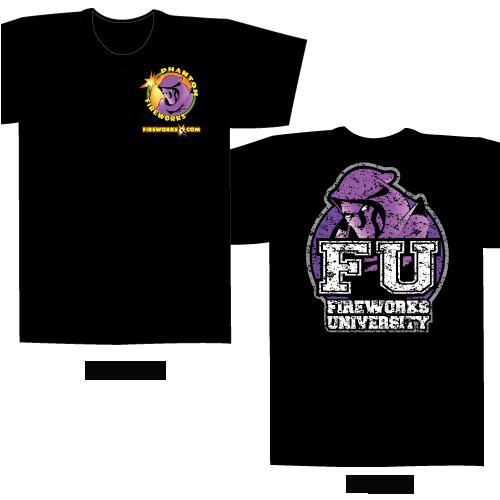 Fireworks University FU -Black T-shirt