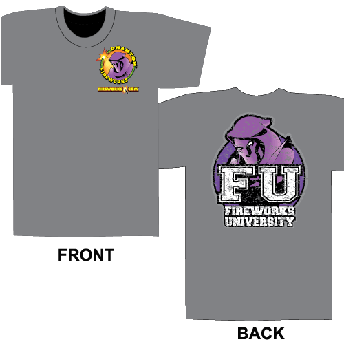 Fireworks University FU - Gray T-shirt