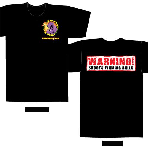 Shoots Flaming Balls – Black T-shirt