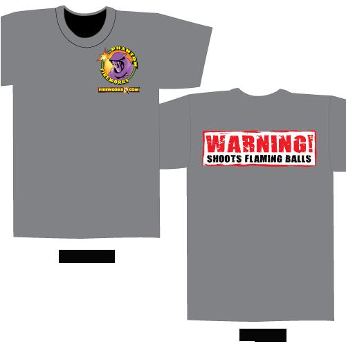 Shoots Flaming Balls – Gray T-shirt