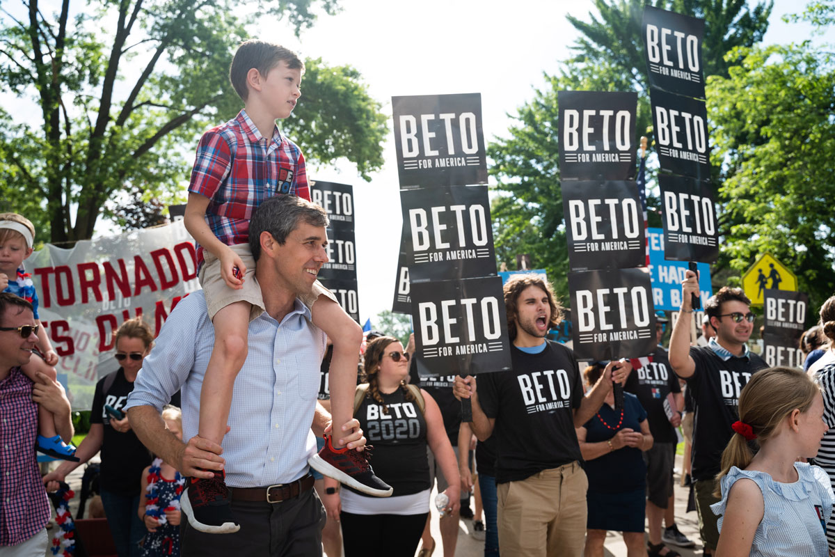 Beto walking in the Independence Day Parade in Independence, Iowa