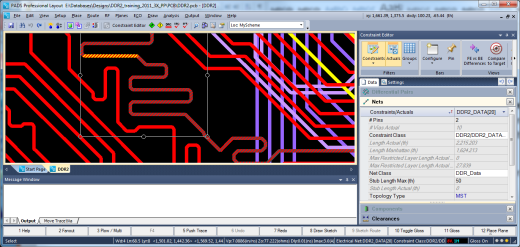 During PCB layout, it is useful to be able to compare actual routed values versus the defined rules.