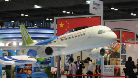Model of Commercial Aerospace Corporation of China's Comac C919 in Flight (Mike Clarke/AFP/Getty Images)