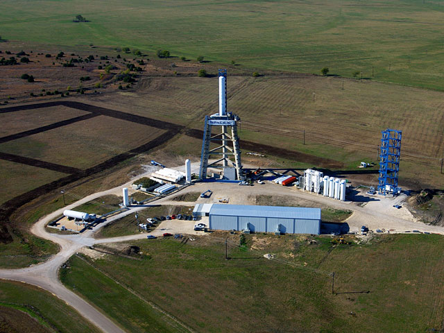 View of the large test stand, part of SpaceX's rocket development facilities in McGregor, Texas.