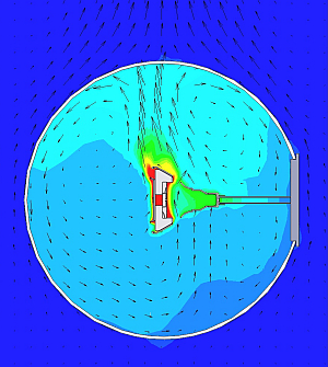 CFD simulation results for a retrofit AC LED lamp being tested in an integrating sphere having a plastic wall.