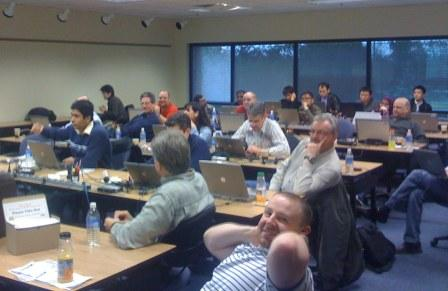 A tough audience here! Mentor Graphics Application Engineers brought their baggage, personalities and cultural heritage from many countries of the world and an interest in heckling the trainer.
