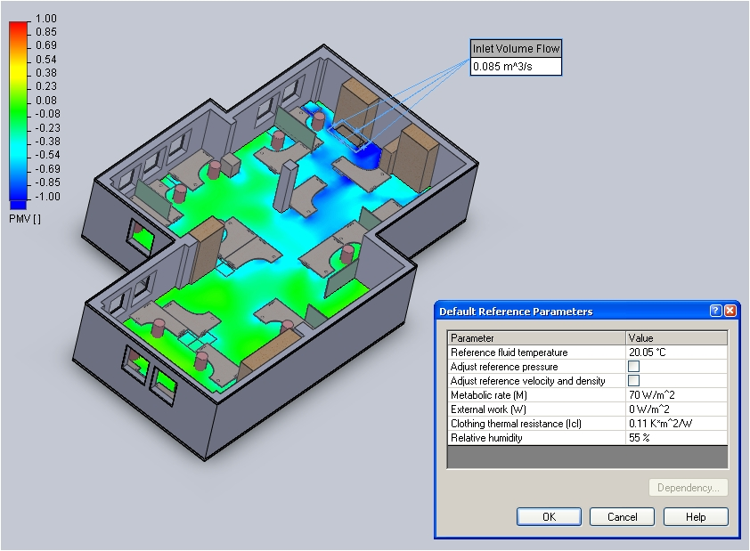 Floefd hvac module taking built environment cfd for Indoor design temperature ashrae