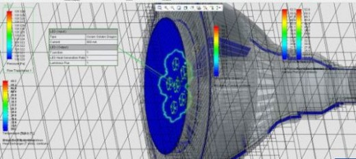 Simulation results on an LED with FloEFD for Creo.