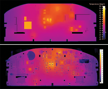 Comparison of CFD results (top) during design with actual PCB measured with an IR camera (bottom).