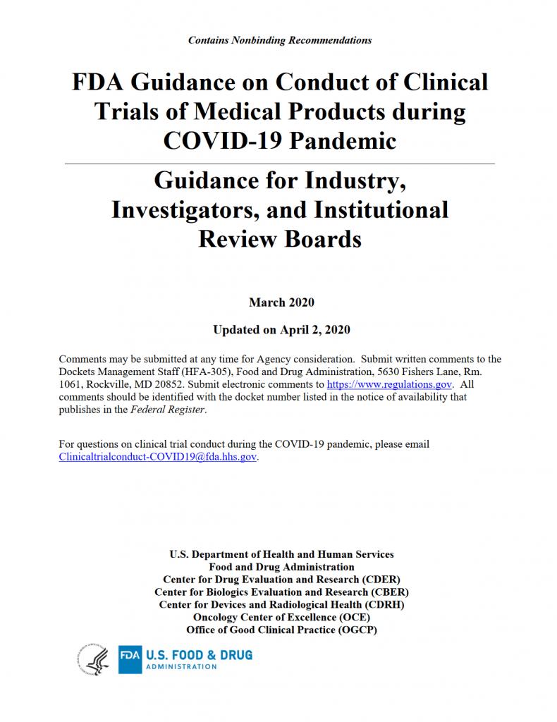 FDA Guidance on Clini al Trails during COVID-19