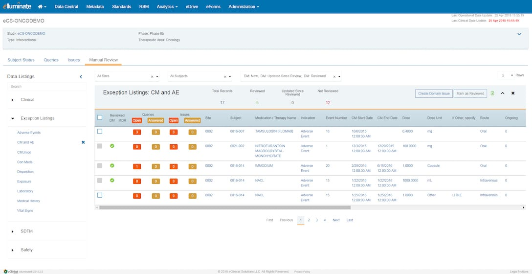 elluminate clinical data management software screen shot.