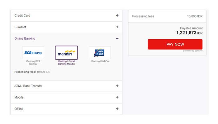 使用iBanking Internet Banking Mandiri结账 : OffGamers