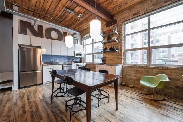 Liberty Lofts Penthouse, 1 Bdrm + Den, 2 Baths, Post & Beam, Steel Staircase W/ Pull-Out Storage, Exposed Ducts & Brick. Rarely Avail., Unimpeded West Facing 2 Level Loft, Salvaged Vintage Hrdwd Flrs, 11 Ft Wood Ceilings On Main. Upgr. Kitchen & Master Bath W/ Freestanding Tub, Sep Shower. Steps To St. Lawrence Market, Financial Core, Distillery District, Waterfront And More.