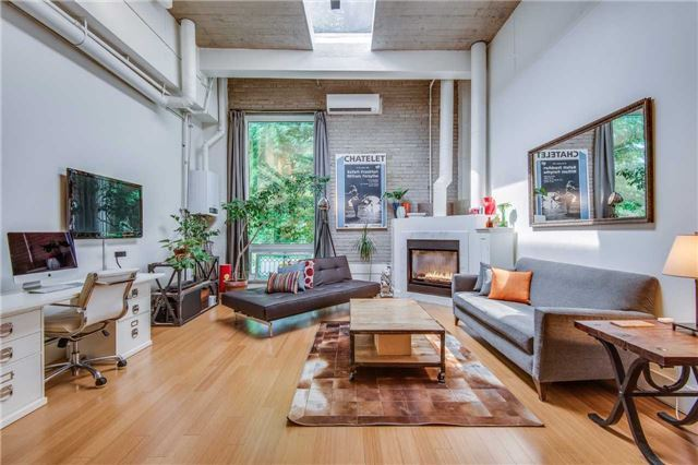 Evening Telegram Lofts, Oversized 1 Bdrm, Stylishly Designed & Fully Reno'd Hard Loft, 15' Concrete Ceilings W/ Massive Beams & Super Bright Skylight That Illuminates The Space All Day Long, Wood Floors Thru'out, Gas F/P, Private & Exclusive Use Roof Top Terr., Locker Included. A One-Of-A-Kind Home Nestled In Lushly-Treed Cabbagetown, Steps To Parks, Shops, Theatres, Fin Core, Transit & More.