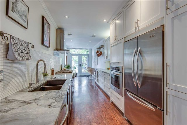 A Unique & Modern, Free-Flowing, Urban Entertainer's Dream Space, Vintage Inspired Aesthetic W/Hints Of Yesteryear Make It Truly One Of A Kind. Completely Reno'd Main Flr W/Chef's Kit.,Granite, High-End Appl's, Hrdwd Thru-Out.2nd Flr Master Retreat With Upgraded Bath, Dressing Rm, Laundry & Priv.Terr., 3rd Flr Offers Priv.Bdrm & Studio. Tucked Btwn Little Italy & Kensington, It's Steps To U Of T, Transit And More. This One Is It!