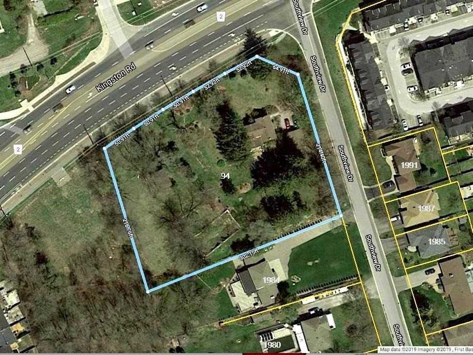 Zoned Mixed Corridor In The Official Plan.  Calling All Developers And Builders.  Beautiful Corner Lot Fronting Onto Kingston Road And Southview.  2 Existing Driveways. One On Kingston Road And One On Southview.